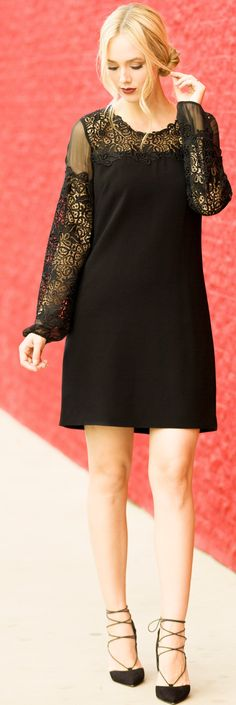 #fall #trending #outfits | Elie Tahari Lace Dress