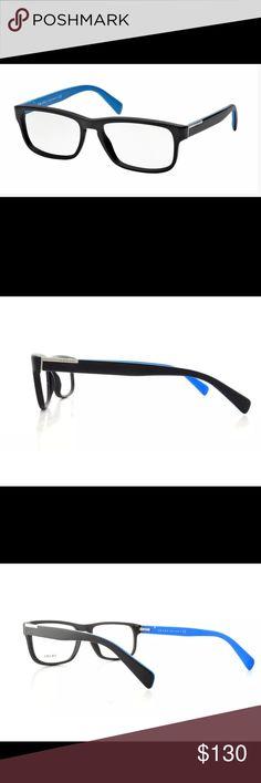 PRADA men's matte black frames with blue BRAND NEW!  Frame Color: 1BO1O1 Matte Black  Frame Shape: Rectangle  Gender: Men  Lens Width: 56 mm Bridge Width: 17 mm Arm Length: 145 mm Lens Height: 38 mm Prada Accessories Glasses