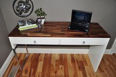 Materials: Micke desk, walnut scraps, mdf, wood glue, paint Description: I cut a. - Ikea DIY - The best IKEA hacks all in one place Bureau Ikea Micke, Micke Desk, Ikea Hackers, Refurbished Desk, Desk Hacks, Wood Desk, Mdf Wood, Wood Glue, Wood Scraps