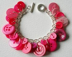 Etsy :: Your place to buy and sell all things handmade Button Bracelet, Bracelets, Mistletoe And Wine, Spring Mix, Bazaar Ideas, Red Button, Pink Candy, Bracelet Making, Diy Jewelry