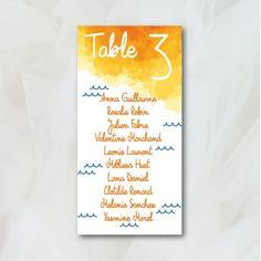 Plan de table - Couleurs du Sud - Papeterie Mariage