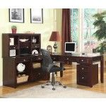 Parker House - Boston L-Shaped Desk with Credenza and Hutch in Merlot - BOS-347H-347C-357D-370-375