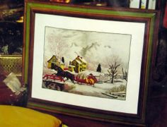American Farm Scenes Crewel Embroidery Kit Snow Winter Currier & Ives Vtg 1975