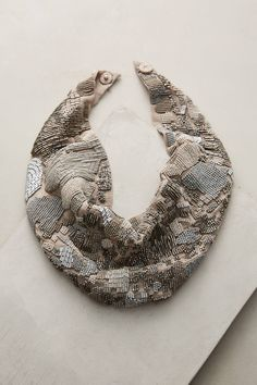 Danielle Grey Scarf Necklace at Anthropologie Textile Jewelry, Fabric Jewelry, Jewelry Art, Beaded Jewelry, Jewelry Accessories, Fine Jewelry, Women Jewelry, Jewelry Design, Beaded Necklace