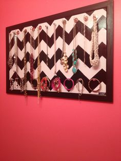 DIY Jewlery holder|| Revamp an old frame and nail it on the wall-- nice to save surface space