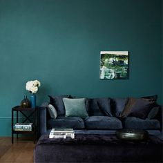 Zoffany Teal walls and dark navy sofa. Like!
