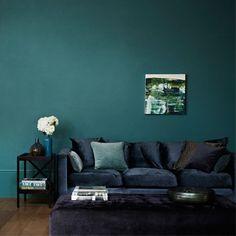 Zoffany Teal walls and dark navy sofa. Like!