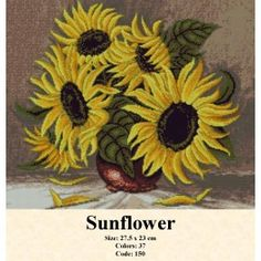 Sunflower Cross Stitch Kits, Tapestry, Painting, Art, Dots, Flowers, Punto De Cruz, Embroidery, Hanging Tapestry