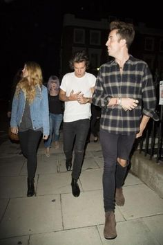 Harry Styles, Nick Grimshaw, Gemma Styles, and Kelly Osbourne out in London after the fashion show
