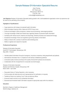 sample release of information specialist resume. Resume Example. Resume CV Cover Letter