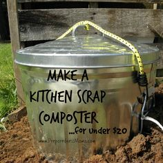 DIY Simple Kitchen Scrap Composter http://preparednessmama.com/diy-kitchen-scrap-composter/ Make a kitchen scrap composter and bury it in your garden. For under $20 you can attract beneficial worms and it doesn't take up much space. #compost