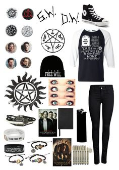 """""""Sorry I haven't been active lately, school (Supernatural)..."""" by emo-kyleigh ❤ liked on Polyvore featuring ONLY, Converse, Smythson and WALL"""