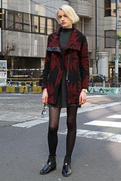 Tokyo Fashion Week Fall 2016 street style | Orange fur coat #MBFWT [Photo: Onnie A. Koski]