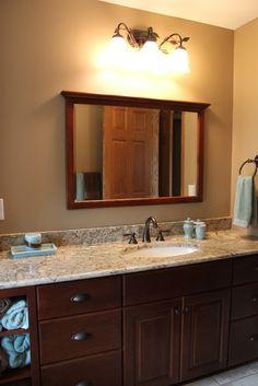 Spa Bathroom traditional bathroom- countertop, wall color, cabinets (go darker)