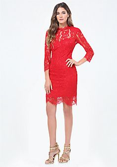 Stacy+Scallop+Lace+Dress  #bebe and #pinyourwishlist