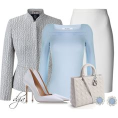 A tweed jacket. by dgia on Polyvore featuring polyvore fashion style Viyella Lanvin Gianvito Rossi Christian Dior Krystal