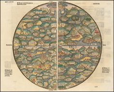 Medieval World Map from Mer des Histoires, c1491