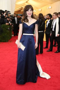 Zooey Deschanel's Navy blue gown at the 2014 Costume Institute's Met Gala.  Outfit Details: http://wwzdw.com/z/4622/ #WWZDW