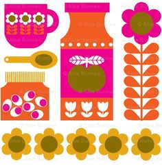 Super sweet , kitchne-happy, retro-inspired textile pattern by Alice Apple.