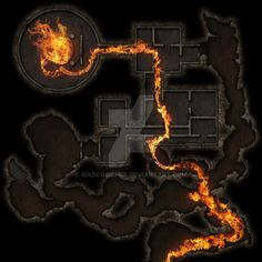 Lair of the Fire Cult Alight by Madcowchef on DeviantArt Dungeon Tiles, Dungeon Maps, Fantasy Rpg, Medieval Fantasy, Fantasy Map Maker, Pathfinder Maps, Underground Map, Rpg Map, Map Layout