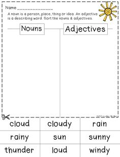 Nouns and Adjectives sort - freebie when you download preview