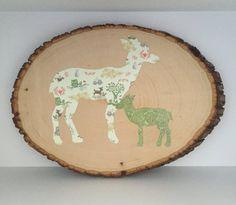Woodland Nursery Art  Wood Slice Art  Mommy by EthelsGranddaughter