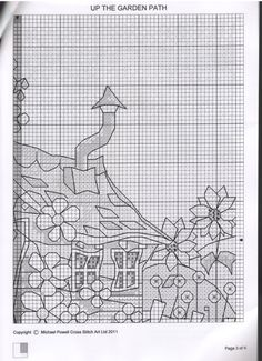 up the garden Cross Stitch House, Cross Stitch Kitchen, Mini Cross Stitch, Types Of Embroidery, Embroidery Patterns, Counted Cross Stitch Patterns, Cross Stitch Embroidery, Michael Powell Cross Stitch, Blackwork Patterns