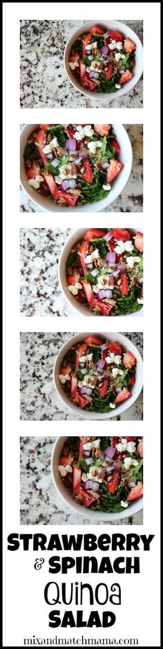 Strawberry & Spinach Quinoa Salad... I would love this with some grilled chicken for a clean summer dinner!