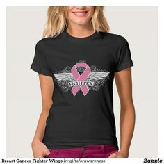 Show you fight strong with #BreastCancer Fighter Wings shirts, apparel and gifts featuring a cool grunge tattoo style wings on a scroll backdrop and pink ribbon by GiftsForAwareness.Com #breastcancerawareness