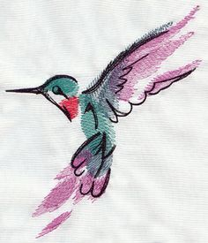 Painted Hummingbird design (UT5574) from UrbanThreads.com  Really love the open and carefree style of this design - painting with thread.
