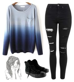 """Untitled #728"" by chill-outfits ❤ liked on Polyvore featuring Topshop and Converse"