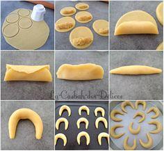 Tcharek msaker : Corne de Gazelle - La Casbah des Delices Desserts With Biscuits, Cookie Desserts, Cookie Recipes, Snack Recipes, Dessert Recipes, Moroccan Desserts, Patisserie Cake, Algerian Recipes, Ramadan Recipes