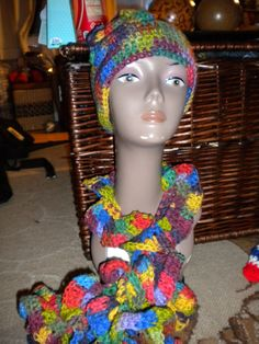 Primary colors ruffle scarf and hat set on Etsy, $45.00