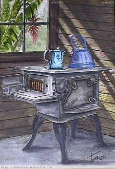 Resultado de imagen de cocina de leña dibujo Antique Stove, Daisy Painting, Turkish Art, Colouring Techniques, Through The Window, Kitchen Art, Pictures To Paint, Farm Life, Vintage Christmas