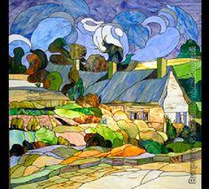 On Van Gogh's village street. Stained glass art studio by Svetlana Mikhailova On Van Gogh's village street