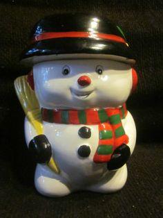 "ADORABLE "" SNOWMAN "" LARGE CHRISTMAS THEME COOKIE JAR"