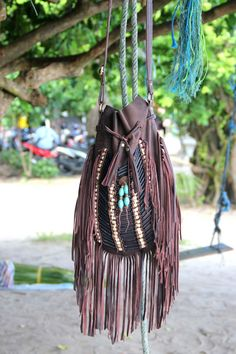 Antique brown Indian leather bag large size indian by etnikabali