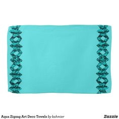Aqua Zigzag Art Deco Towels