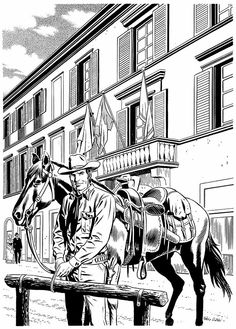 Tex, numa arte de Fabio Civitelli,  chegando ao histórico Palácio Panciatichi, em Florença