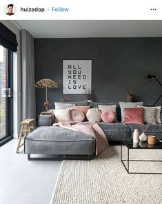 comfy bed bedroom ideas cozy navy and pink bedroom baby girl nursery purple lavender bedroom rose gold room pink office paris themed bedroom bedding ideas bedding ideas cozy pink bedrooms monotone interiors interior inspo interior apartment grey interior Apartment Interior, Interior Design Living Room, Living Room Designs, Living Room Themes, Minimal Apartment Decor, Interior Design Themes, Design Apartment, Apartment Living, Living Room Grey