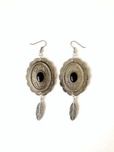 Black Onyx Concho Feather Earrings by BrianneCossette on Etsy