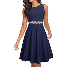 e9bedc131 HOMEYEE Womens Sleeveless Cocktail ALine Embroidery Party Summer Wedding  Guest Dress 12 Dark Blue 34 Sleeve     Continue to the product at the image  link.