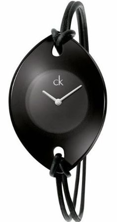 Calvin Klein Quartz, Genuine Black Leather Spaghetti Strap with Black Suspension Dial
