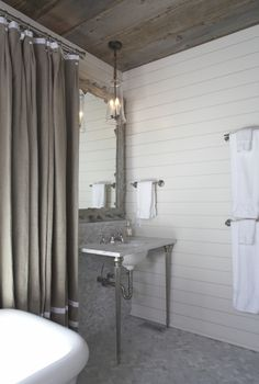 barn wood ceiling in bathroom