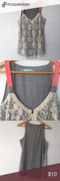 Maurice's Lace Overlay Tank Excellent used condition Maurice's tank, heathered gray with off-white lace overlay on front and pink-orange (coral to me) straps. Size medium. Maurices Tops Tank Tops