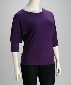 Another great find on #zulily! Purple Three-Quarter Sleeve Top - Plus #zulilyfinds