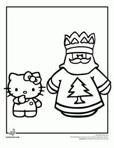 Hello Kitty And Santa Coloring Page