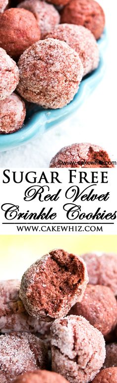Bite sized RED VELVET CRINKLE COOKIES that are reduced in sugar! Those crispy and crackly tops take these cookies over the top! {Ad} From cakewhiz.com
