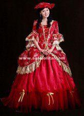 High-grade Red Print Rococo Marie Antoinette European Court Wedding Dress Historical Renaissance Ball Gowns