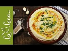 Pate de naut (Hummus) - Reteta VIDEO Hummus, Pesto, Quiche, Tahini, Cooking Recipes, Cheese, Breakfast, Ethnic Recipes, Food